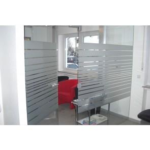Sandstrahlfolie als Gestaltungselement, Sichtschutz oder Türbeschriftung